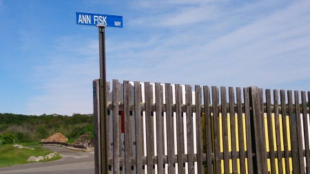 A postcard-perfect day at the entrance to the Rockport, MA dump.